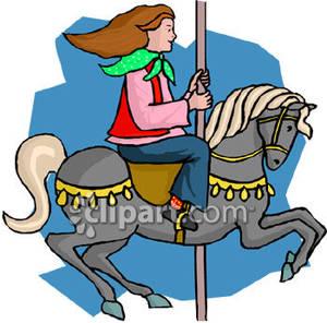 300x296 A Girl Riding A Merry Go Round Horse