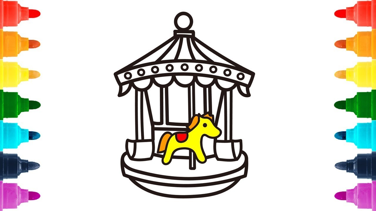 1280x720 Carousel(Merry Go Round) Coloring Book For Children Drawing Art