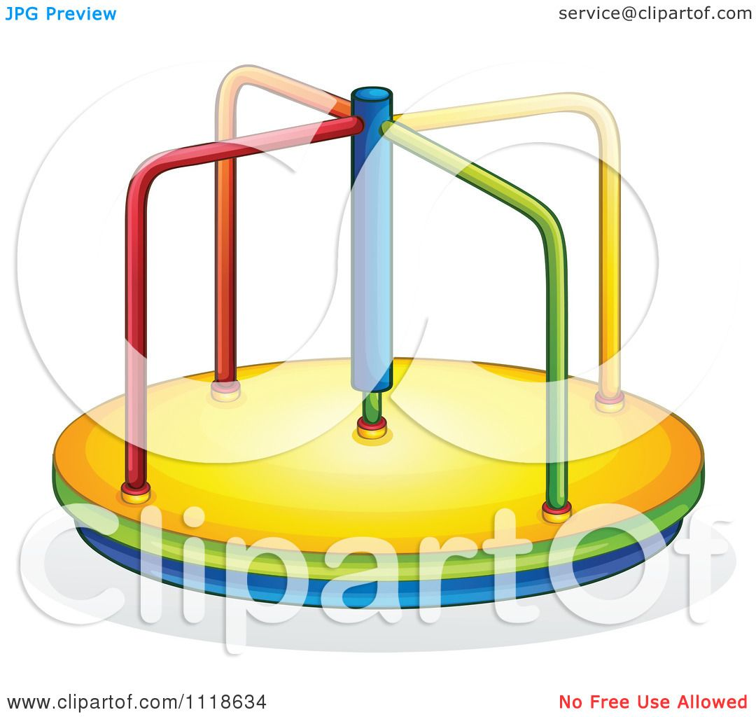 1080x1024 Vector Clipart Of A Playground Merry Go Round
