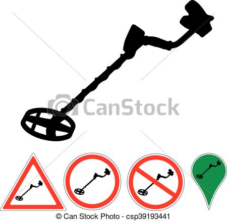 450x438 Metal Detector Sign On A White Eps Vector