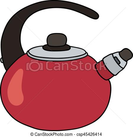 450x465 Red Metal Teapot. Hand Drawing Of A Red Teapot Vector Clip Art