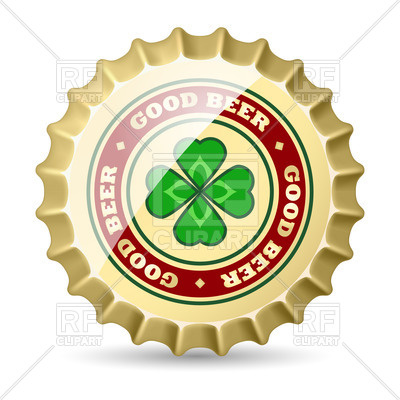 400x400 Shiny Metal Beer Cap With Clover Royalty Free Vector Clip Art