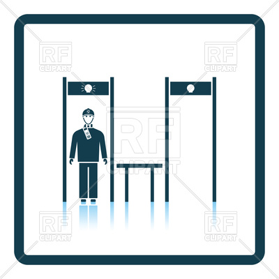 400x400 Stadium Metal Detector Frame With Inspecting Fan Icon Royalty Free