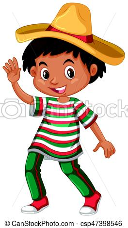 264x470 Mexican Boy In Traditional Outfit Illustration Eps Vector