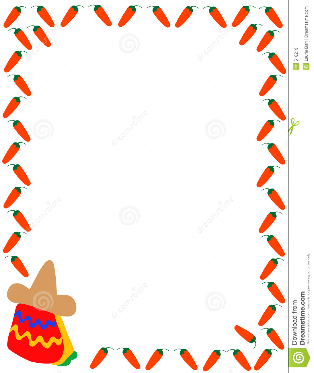 1095x1300 Clip Art Mexican Borders Taco Clipart Border Pencil And In Color