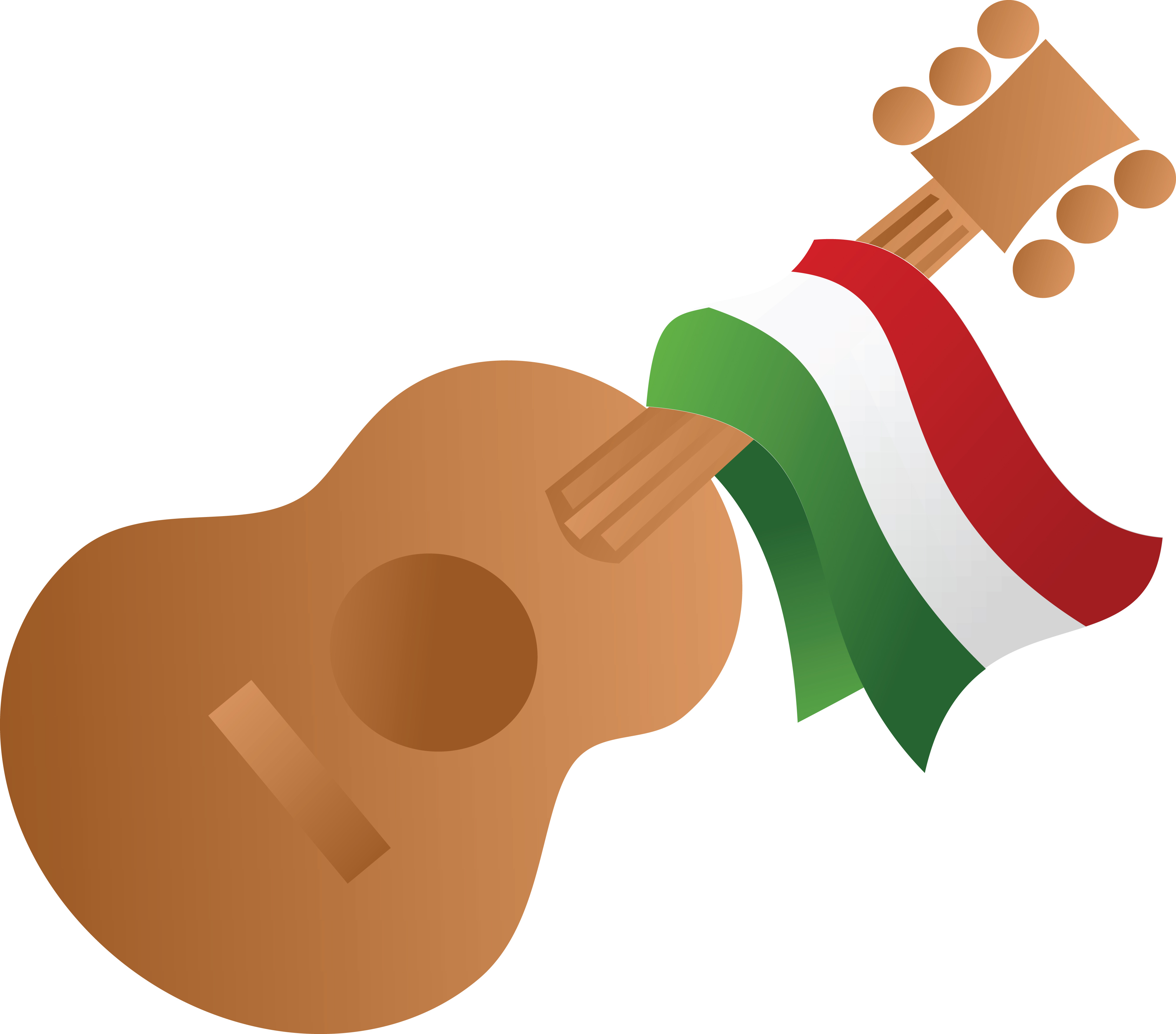 4000x3520 Free Clipart Of A Mexican Flag Draped On A Guitar