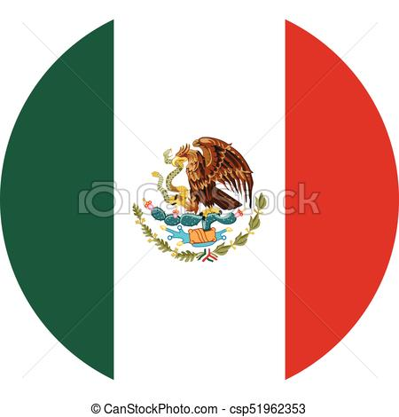 450x470 Round Mexico Flag Vector Icon Isolated On White Background