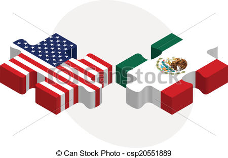 450x312 Vector Illustration Of Usa And Mexico Flags In Puzzle Vector