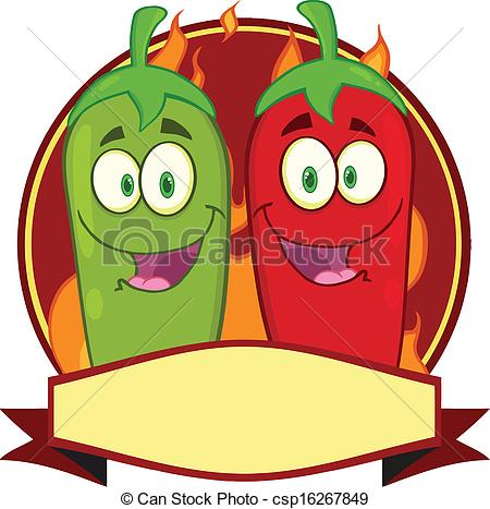 450x467 Mexican Chili Peppers Label. Mexican Chili Peppers Cartoon Eps