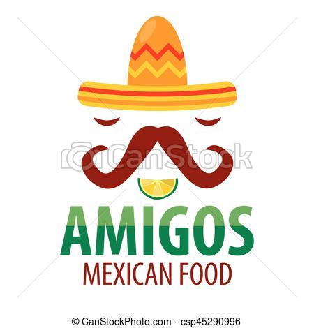 450x470 Mexican Food Restaurant Sombrero Mustaches Vector Icon Eps