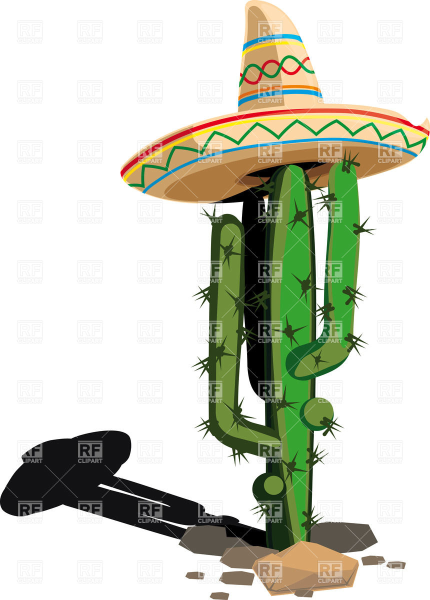 860x1200 Cactus In Mexican Hat Royalty Free Vector Clip Art Image