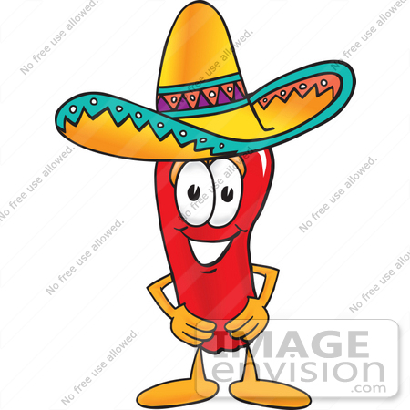 450x450 Clip Art Graphic Of A Red Chilli Pepper Cartoon Character Wearing