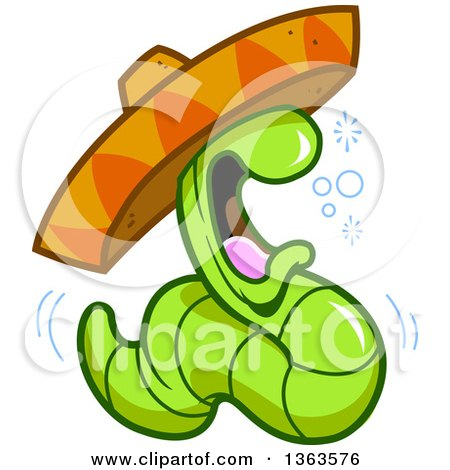 450x470 Clipart Of A Cartoon Drunk Tequila Worm Wearing A Mexican Sombrero