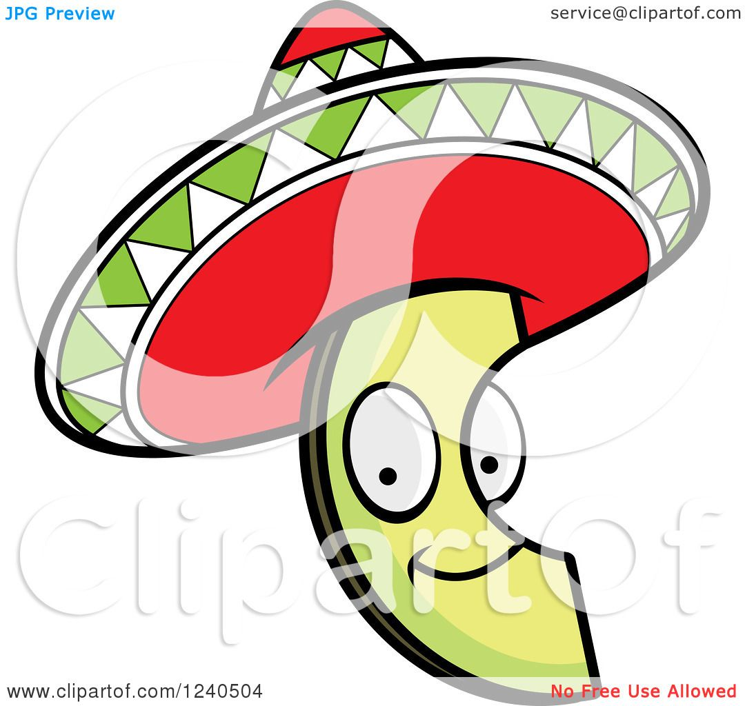 1080x1024 Clipart Of A Happy Mexican Avocado Slice With A Sombrero Hat