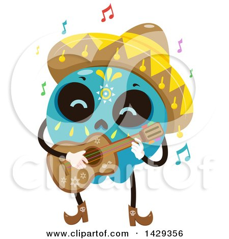 450x470 Clipart Of A Proud Mariachi Man Holding A Guitar Over Mexican