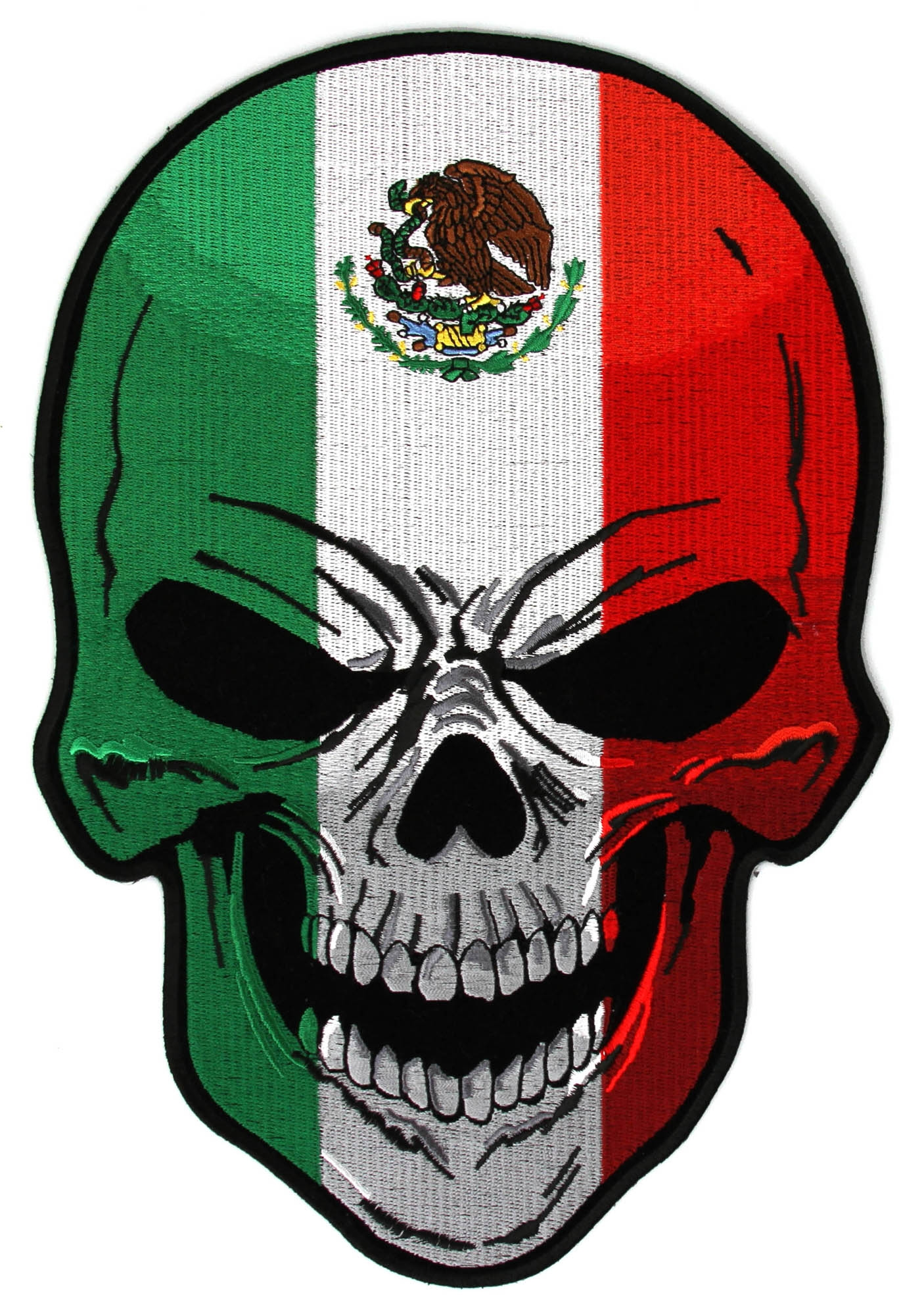 1406x2000 Exploit Mexican Flag Pic Skull Large Back Patch Sporturka