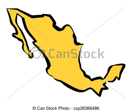 450x380 Drawing Map Of Mexico. Vector Illustration. Vector