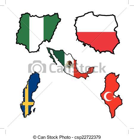 450x470 Map In Colors Of Nigeria,poland,mexico,sweden,tunisia . Vectors