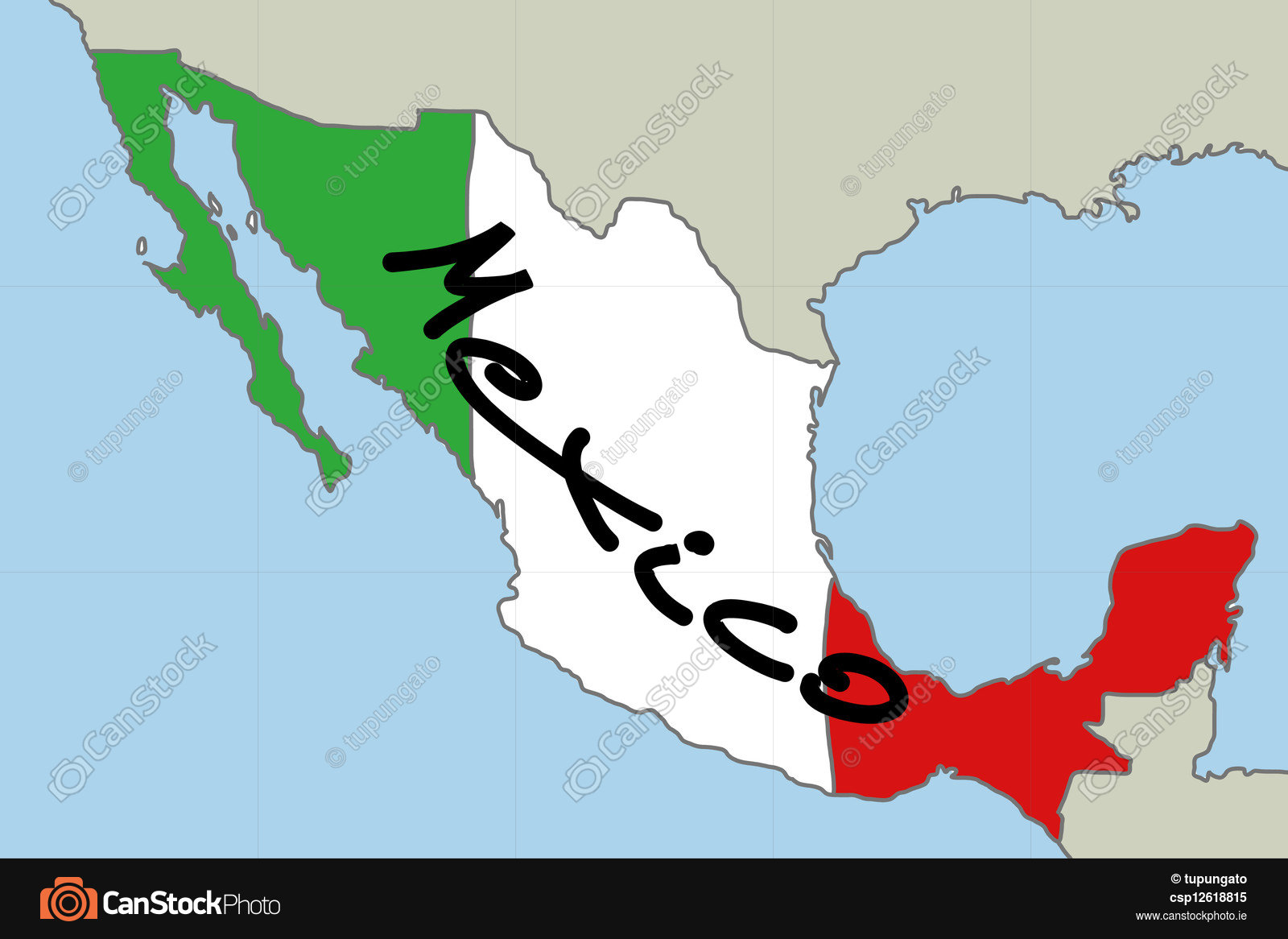 1600x1166 Map Of Mexico With Mexican Flag Colours Vector Clip Art