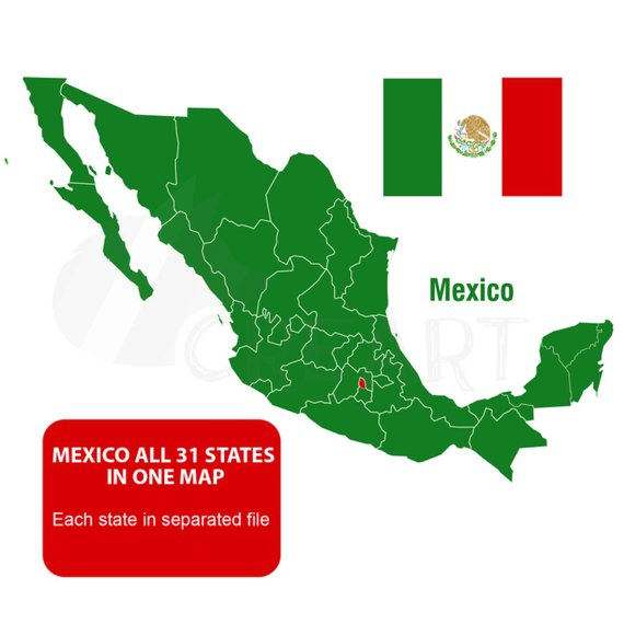 570x570 Mexico Amp States Vector Maps Wall Decor Clip Art For Print