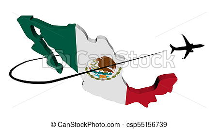 450x266 Mexico Map Flag With Plane Silhouette And Swoosh Drawings