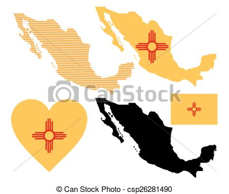 450x380 Mexico Map. Map Flag And Symbol Of Mexico On A White Eps