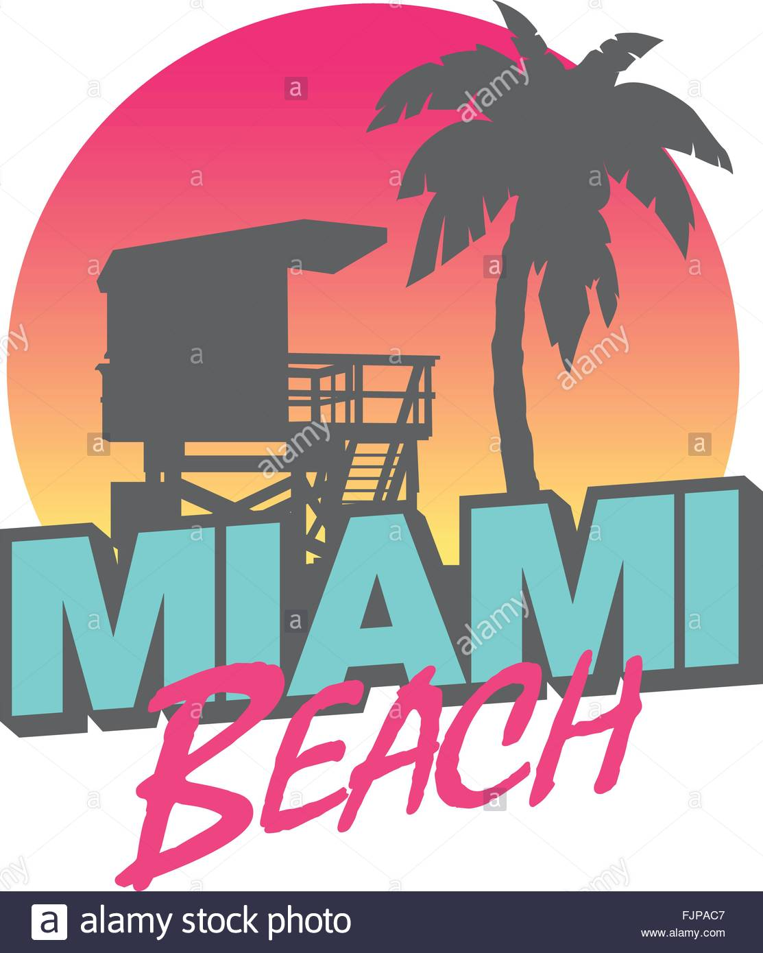 1113x1390 Colorful Symbol Of Miami Beach With The Famous House And Palm Tree