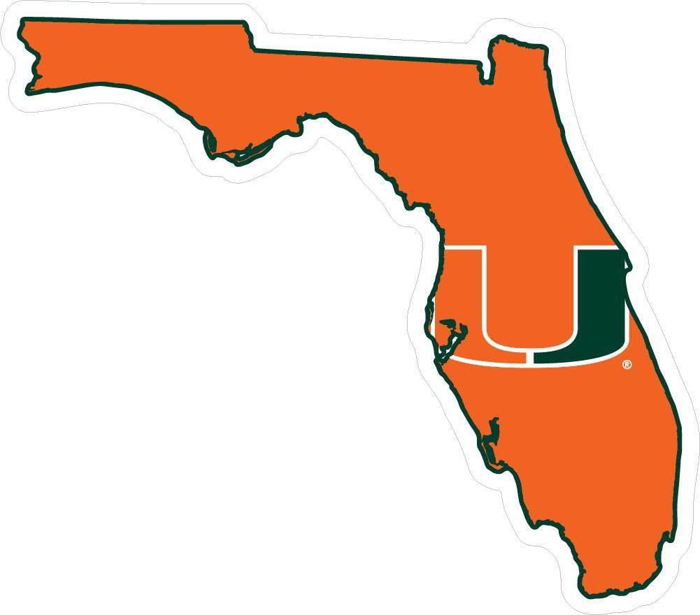 1001x880 Miami Hurricanes 2 U State Logo Dizzler Decal Caneswear