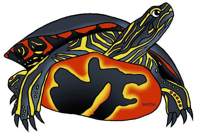 648x437 United States Clip Art By Phillip Martin, Michigan State Reptile