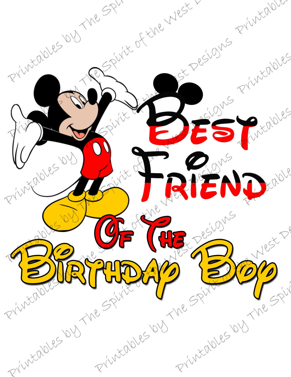 1159x1500 Best Friend of the Birthday Boy Mickey Mouse Iron on IMAGE Mouse