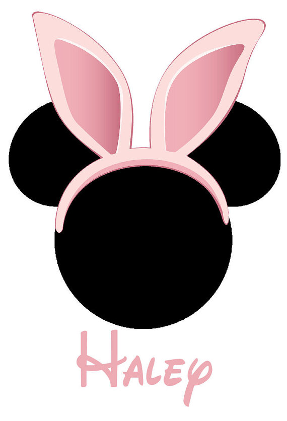 570x836 Mickey Mouse Head With Easter Bunny Ears Pink Digital Iron