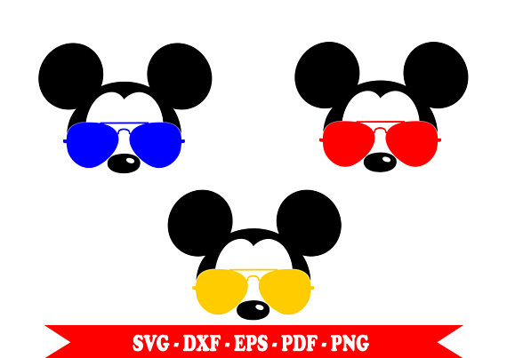 570x403 Mickey Mouse Aviator With Sunglasses Svg Face Head Clip Art