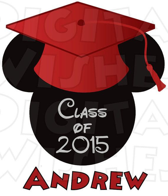 570x664 Graduate Mickey Mouse Ears Head Personalized Any By Digitalwishes