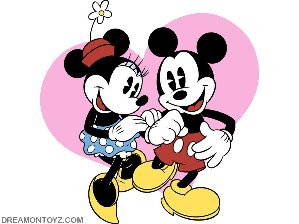 1024x768 Mickey Mouse Valentines Day Cartoon Wallpaper Of