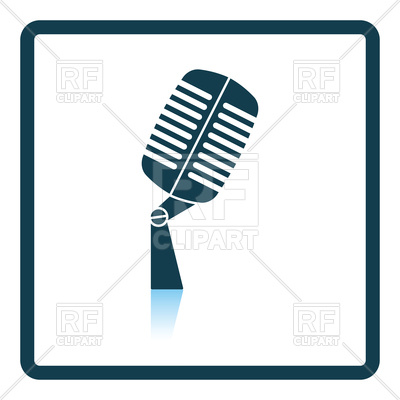 400x400 Old Microphone Icon With Square Frame Royalty Free Vector Clip Art