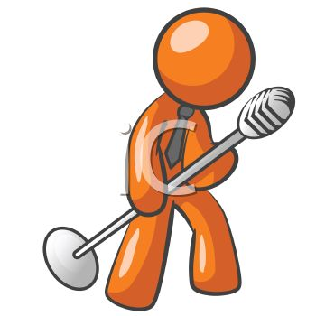 350x350 Orange Man Character Mascot Crooning Into An Old Fashioned Mic