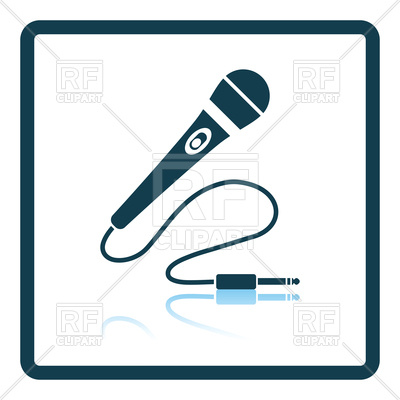400x400 Shadow Reflection Design Of Karaoke Microphone Royalty Free Vector