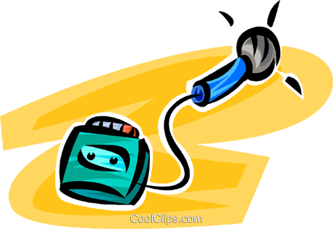 480x331 Microphone And Tape Recorder Royalty Free Vector Clip Art