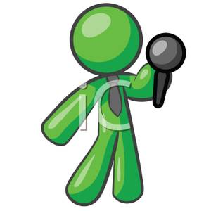 300x300 Clip Art Image A Green Man Holding A Microphone