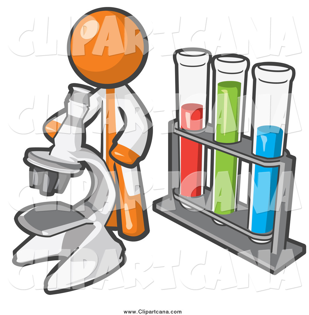 1024x1044 Clip Art Of A Orange Scientist Using A Microscope By Vials By Leo