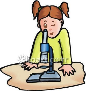 332x350 Royalty Free Clipart Image Young Girl Looking Through A Microscope