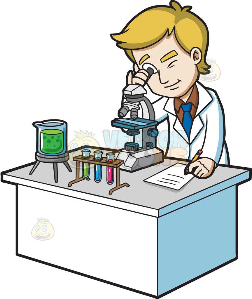 864x1024 A Scientist Looking Under A Microscope Cartoon Clipart Vector Toons