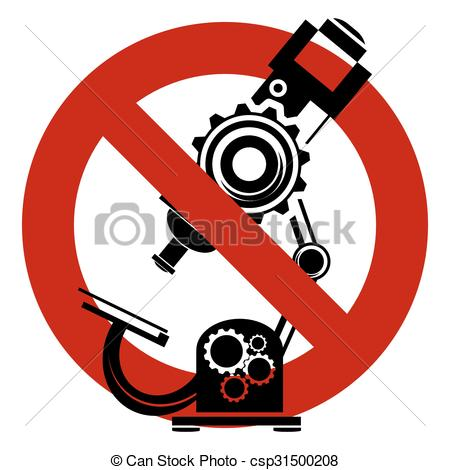 450x470 Stop Or Ban Sign. Microscope Icon. Medical Scientific Vector