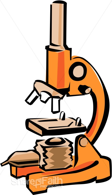 448x776 Bright Orange Microscope Christian Classroom Clipart