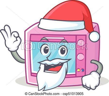 450x395 Santa Oven Microwave Character Cartoon Vector Illustration Vector