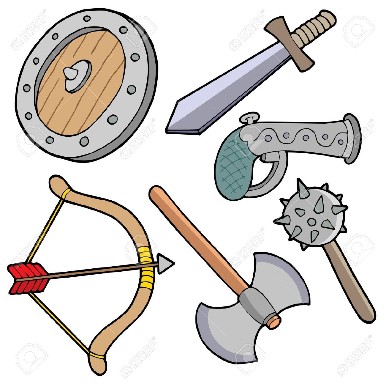 1300x1292 3912979 Weapons Collection Vector Illustration Stock Vector