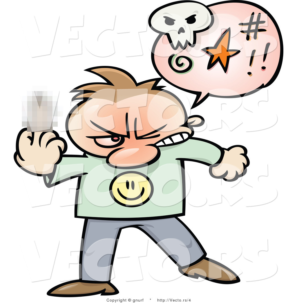 1024x1044 Vector Of A Mad Cartoon Man Displaying Middle Finger While Cursing
