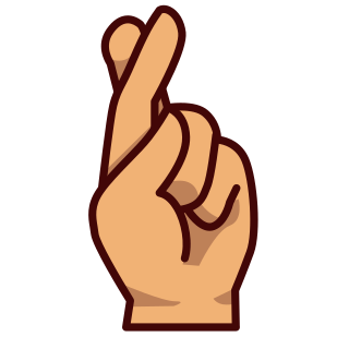 320x320 Hand With Index And Middle Finger Crossed(Ye) Emojidex