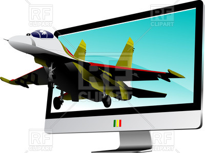 400x299 Jet Fighter Flies Out From Flat Computer Monitor Royalty Free