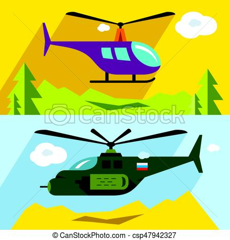 450x470 Vector Set Of Civil And Military Aviation. Flat Style Vector